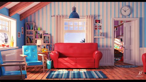 artstation cartoon living room bondok max