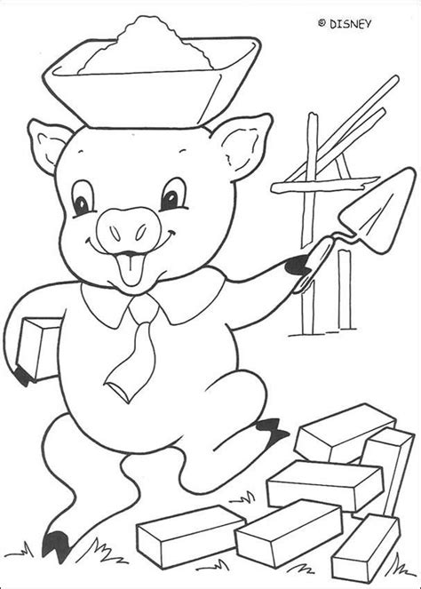 Three little Pigs coloring pages Big Bad Wolf is blowing