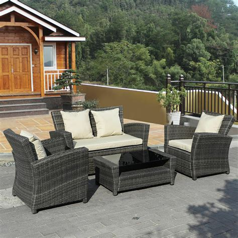 Outside Garden Furniture by 4 Pcs Brown Wicker Cushioned Rattan Patio Set Garden Lawn