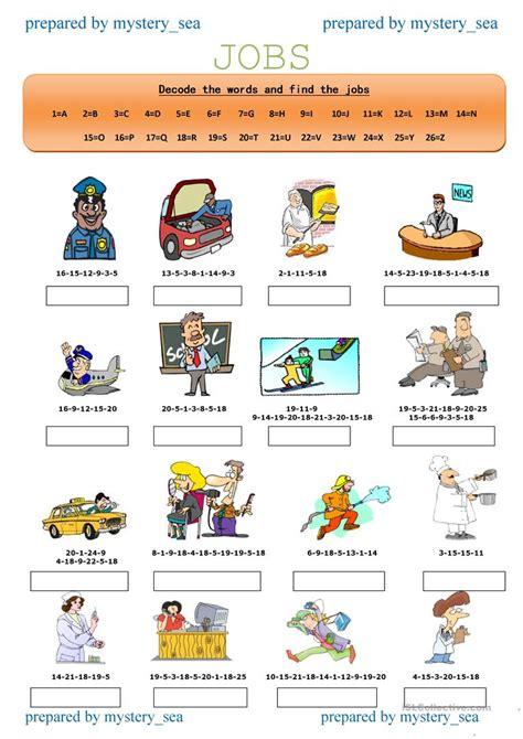 decode  jobs  worksheet  esl printable