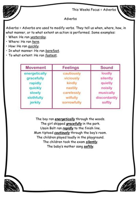 adverbs grammar worksheets new curriculum year 3 4