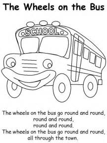 Wheels On the Bus Printable Coloring Pages