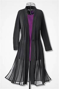 Light Grey Tops Womens Chiffon Soirée Long Pleated Jacket Coldwater Creek