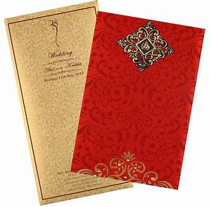 wedding card in elegant gift style with red golden satin With fancy hindu wedding invitations