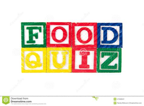 quiz cuisine food quiz alphabet baby blocks on white stock image