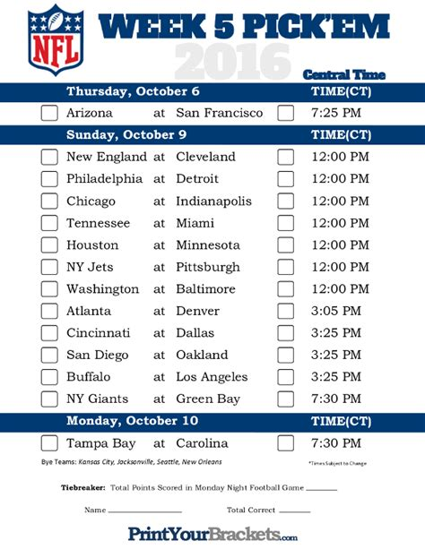 central time week  nfl schedule  printable