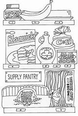 Pantry Coloring Kitchen Room Storage Butler sketch template