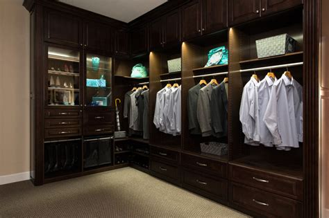 cbell showroom closet with led lighting traditional