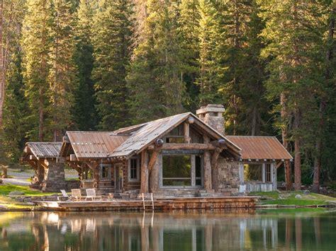 montana cabin rustic pond landscape into private charm fits million