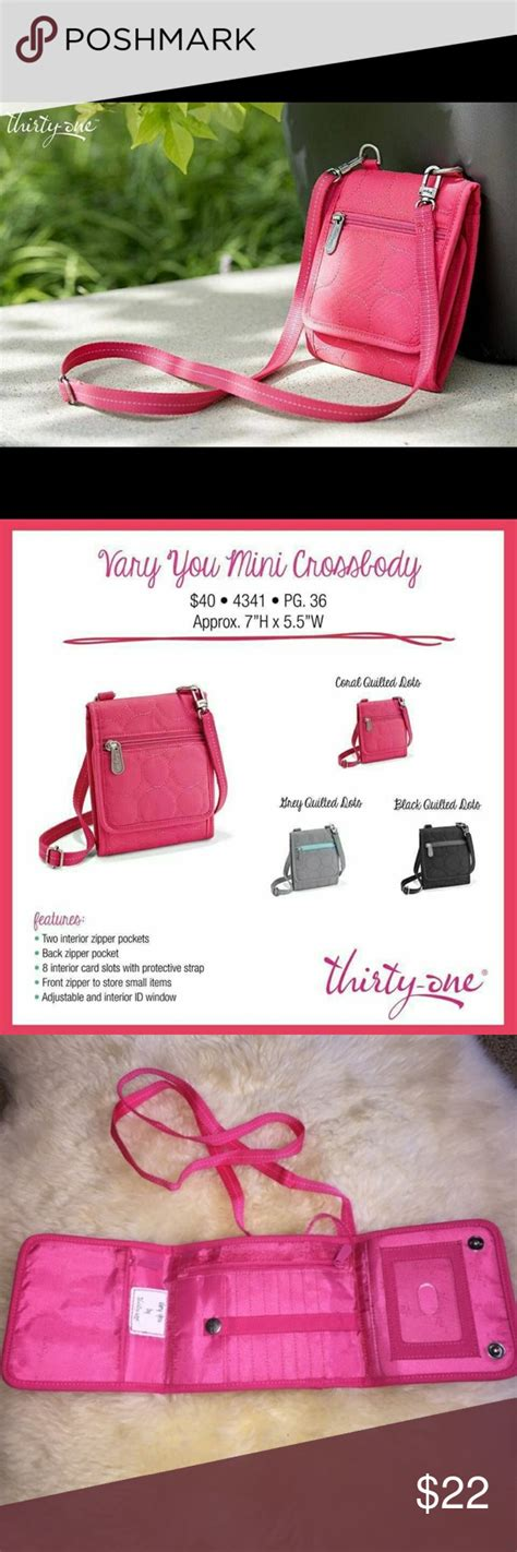 vary  mini crossbody   authentic   retired coral quilted dot vary  mini
