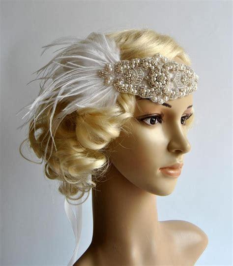 1920 S Bridal Hairstyles by 1920 S Rhinestone Pearls Flapper Headband Bridal