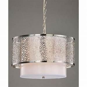 Overstock bedroom ceiling lights : Modern white nickel drum shade ceiling chandelier pendant