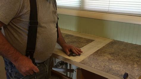 how to cut kitchen countertop for sink kitchen counter top 4 cutting out the sink 9371