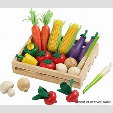 New Kid's Wooden Vegetables Crate Role Pretend Play