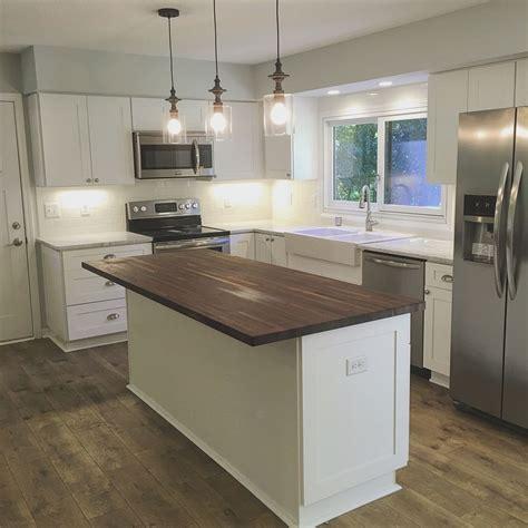 white kitchen island with butcher block top farmhouse chic kitchen makeover walnut 2218