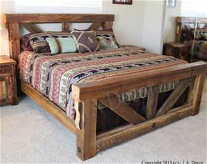 rustic bed etsy With barn wood king size bed