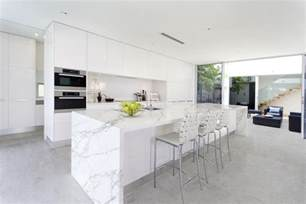 kitchen island table with stools quartz island kitchen transitional with waterfall