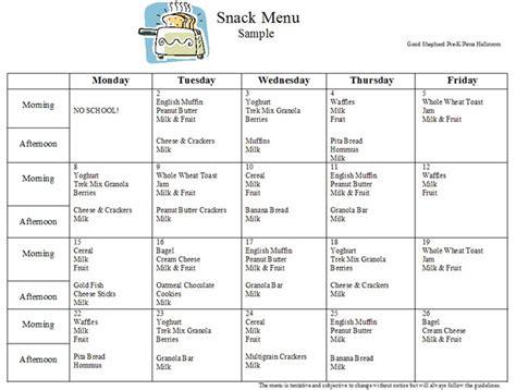 lunch menu for preschoolers daycare food menu template food 580