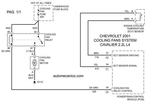 chevrolet cooling fans system diagramas ventiladores abanicos motores 2001 mecanica