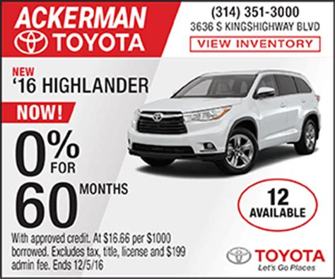 Ackerman Toyota by Ackerman Toyota Great Specials 314 351 3000