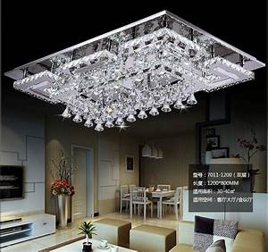2015, New, Square, Design, Clear, Crystal, Led, Ceiling, Light, For, Living, Room, Home, Decorative, Lighting