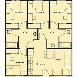 Small 4 bedroom house plans free home future students for Layout for 4 bedroom house