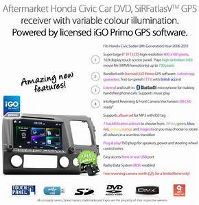8 U0026quot  Honda Civic Car Dvd Gps Player Stereo Radio Head Unit