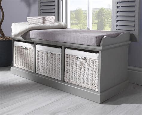 Grey Storage Bench tetbury grey storage bench with 3 white baskets kitchen