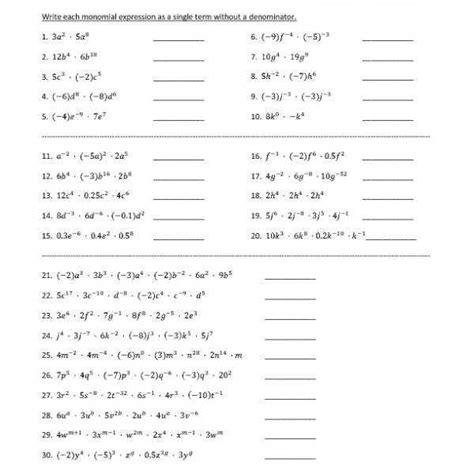 dividing monomials worksheet homeschooldressage