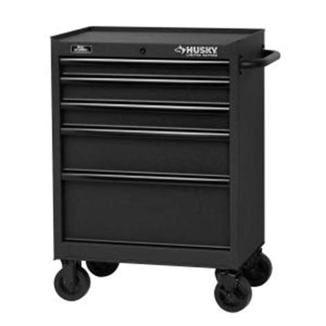 Home Depot Tool Chest On Wheels by Husky 27 In 5 Drawer Tool Cabinet Textured Black