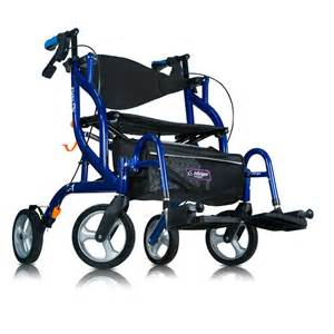 airgo 174 fusion side folding rollator transport chair pacific blue