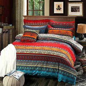 Hnnsi, 4, Pieces, Bohemian, Duvet, Cover, And, Fitted, Sheet, Sets