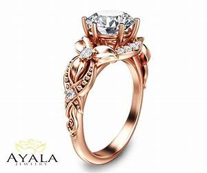 14k rose gold diamond ringunique engagement ringlab for Lab created diamond wedding rings