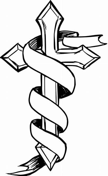 Cross Ribbon Drawing Clipart Clip Line Svg