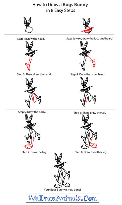 draw bugs bunny step  step tutorial looney