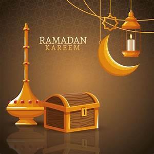 Ramadan, Kareem, With, Waning, Moon, And, Islamic, Art