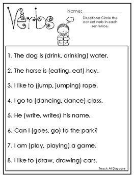 choose  correct verb printable worksheets