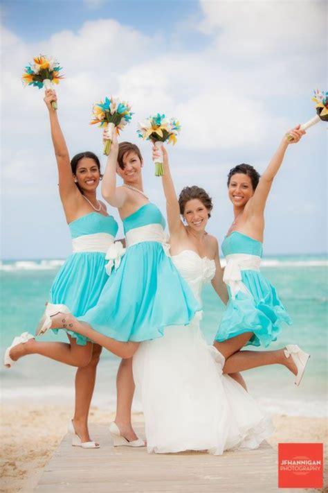 short blue bridesmaid dress cute colors   beach