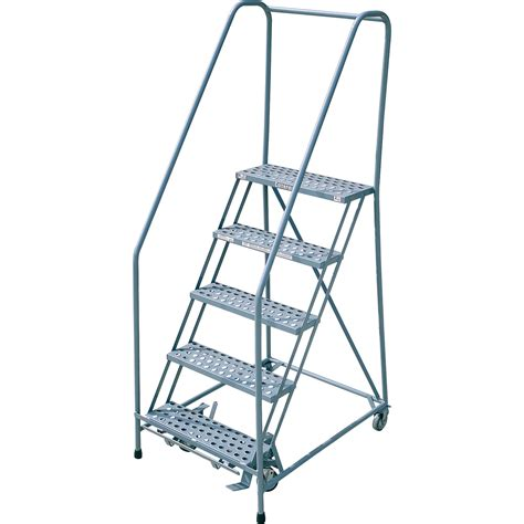 Cotterman Rolling Steel Ladder — 450lb Capacity, 5step