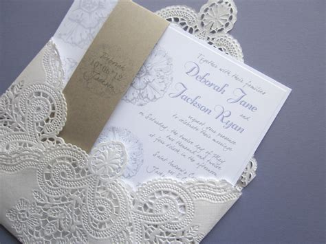 lace wedding invitations vintage wedding invitation lace doily and rustic flourish