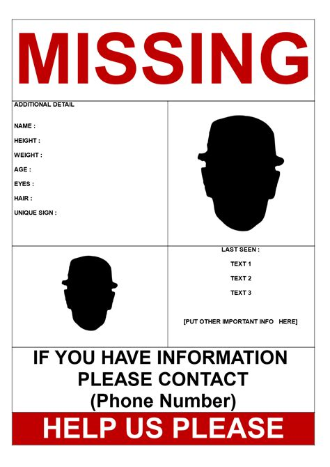 missing person template  pictures templates