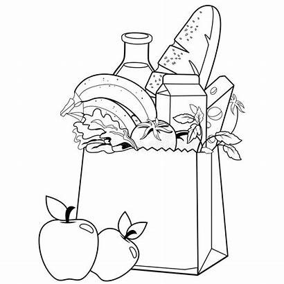 Bag Coloring Groceries Paper Grocery Supermarket Shopping