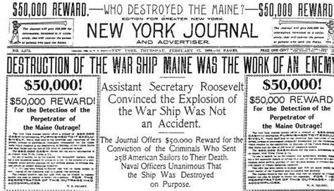 uss maine sinking newspaper what is yellow journalism and what does it play in