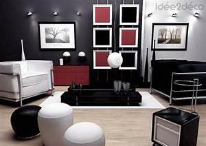deco salon gris blanc noir With deco salon gris blanc noir