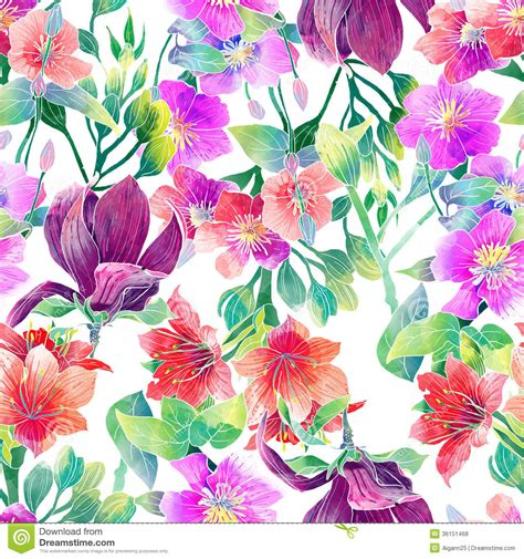 watercolor pattern  exotic flowers stock illustration