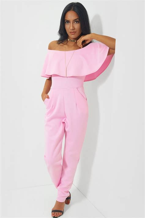 pink jumpsuits pink bardot frill jumpsuit from the fashion bible uk