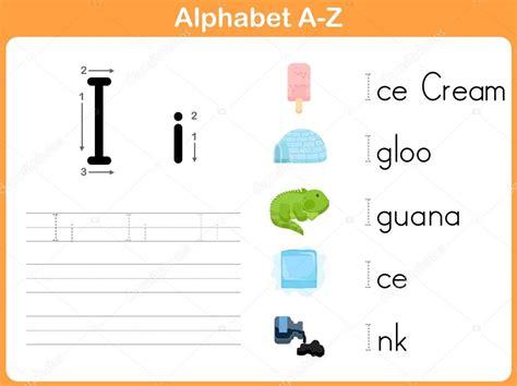 alphabet tracing worksheet writing   stock vector