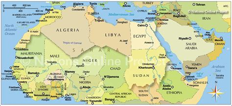 political map  northern africa   middle east