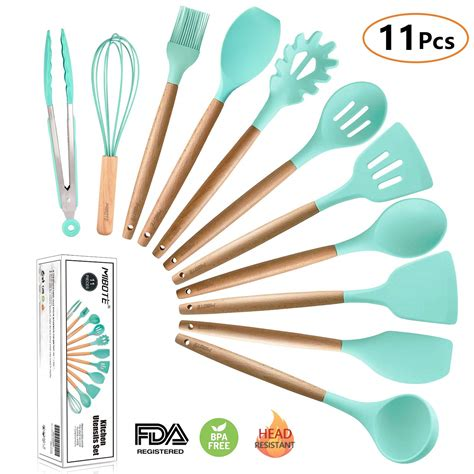 kitchen cooking utensil utensils silicone wooden sets tool amazon rated dishwasher handle pieces acacia non safe spatula spoon heat gadgets