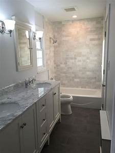 Gray, And, White, Master, Bathroom